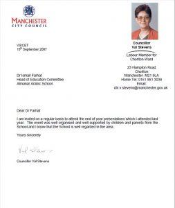 letter from Val Stevens Chllr